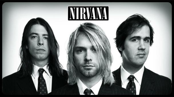 De gauche à droite : Dave Grohl, Kurt Cobain, Krist Novoselic